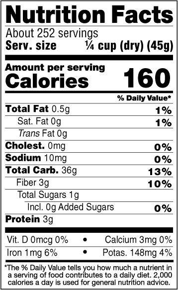 25lb Organic Quick Wild Rice Nutrition Facts