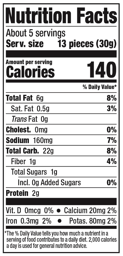 Lundberg Rice Cake Minis White Cheddar Nutrition Facts