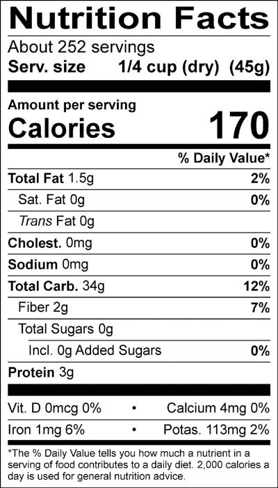 Organic Long Grain Brown Rice Nutrition Facts