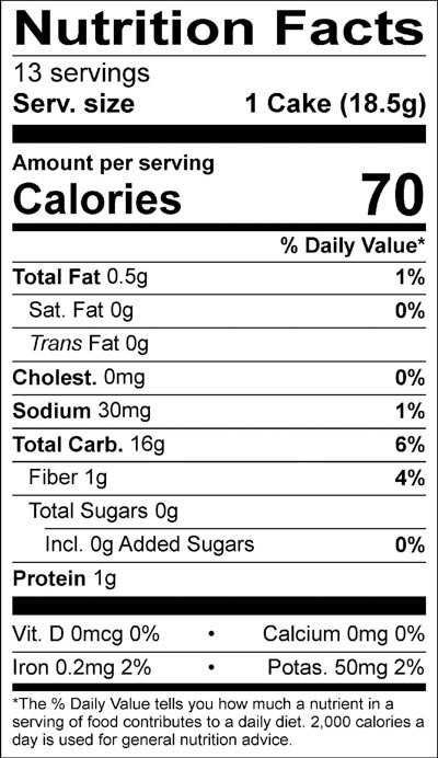 Brown Rice Cakes Lightly Salted Nutrition Facts