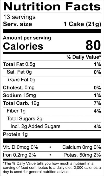 Organic Honey Nut Rice Cakes Nutrition Facts