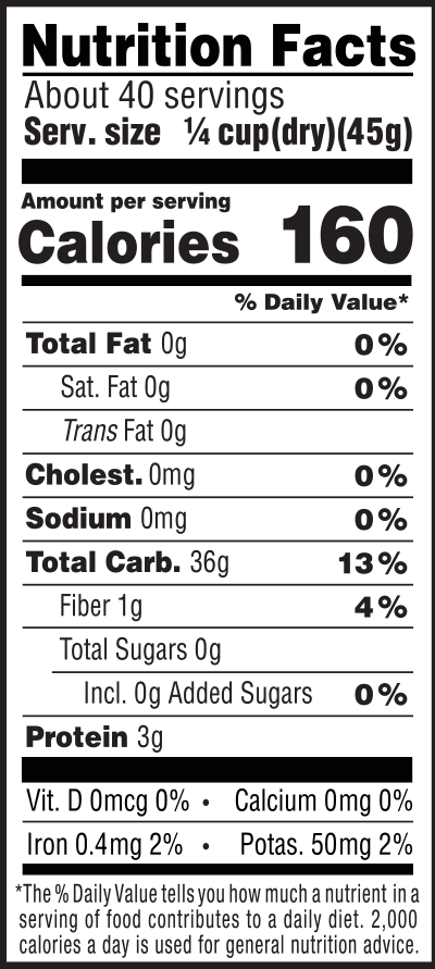 Organic White Calrose Rice Nutrition Facts