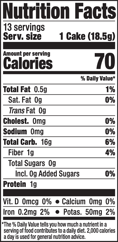 Brown Rice Cakes Salt Free Nutrition Facts