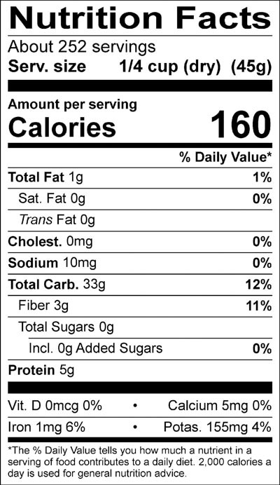 Organic Black Pearl Rice Nutrition Facts