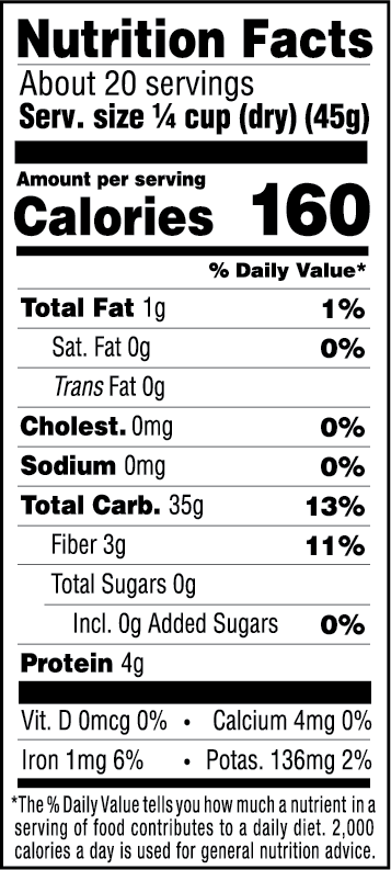 Organic Wild Blend Rice Nutrition Facts