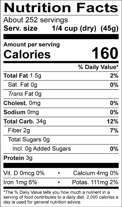 Lundberg Countrywild® Rice Nutrition Facts