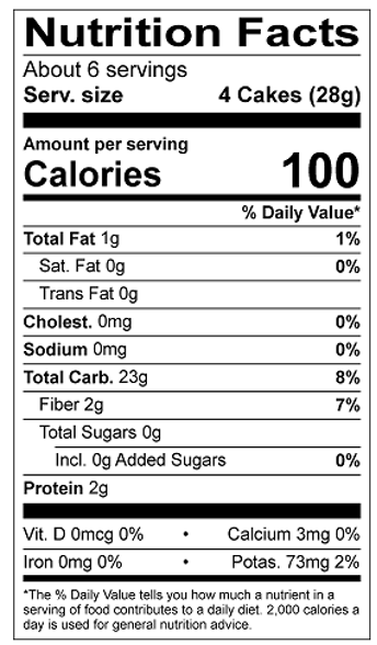 Thin Stackers Salt Free Nutrition Facts