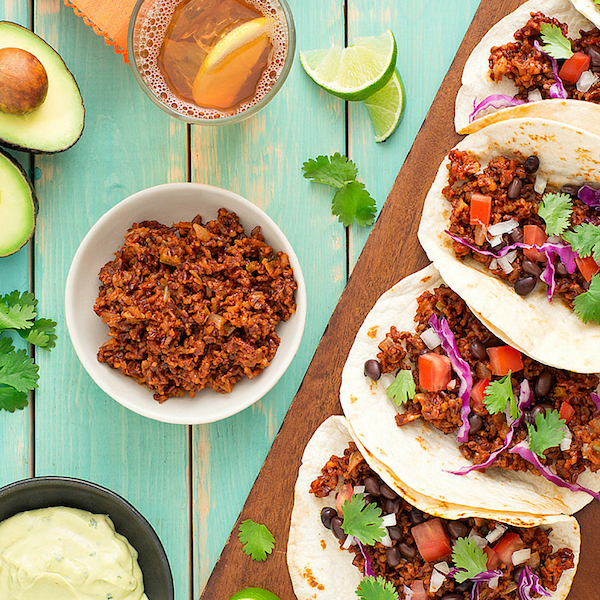 Burgundy Red Rice Meatless Tacos