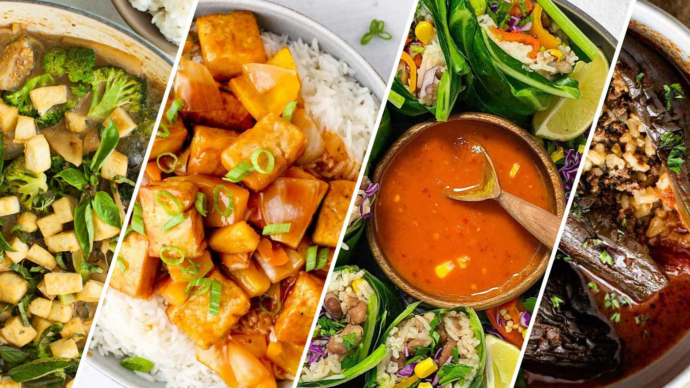 Various food dishes with rice