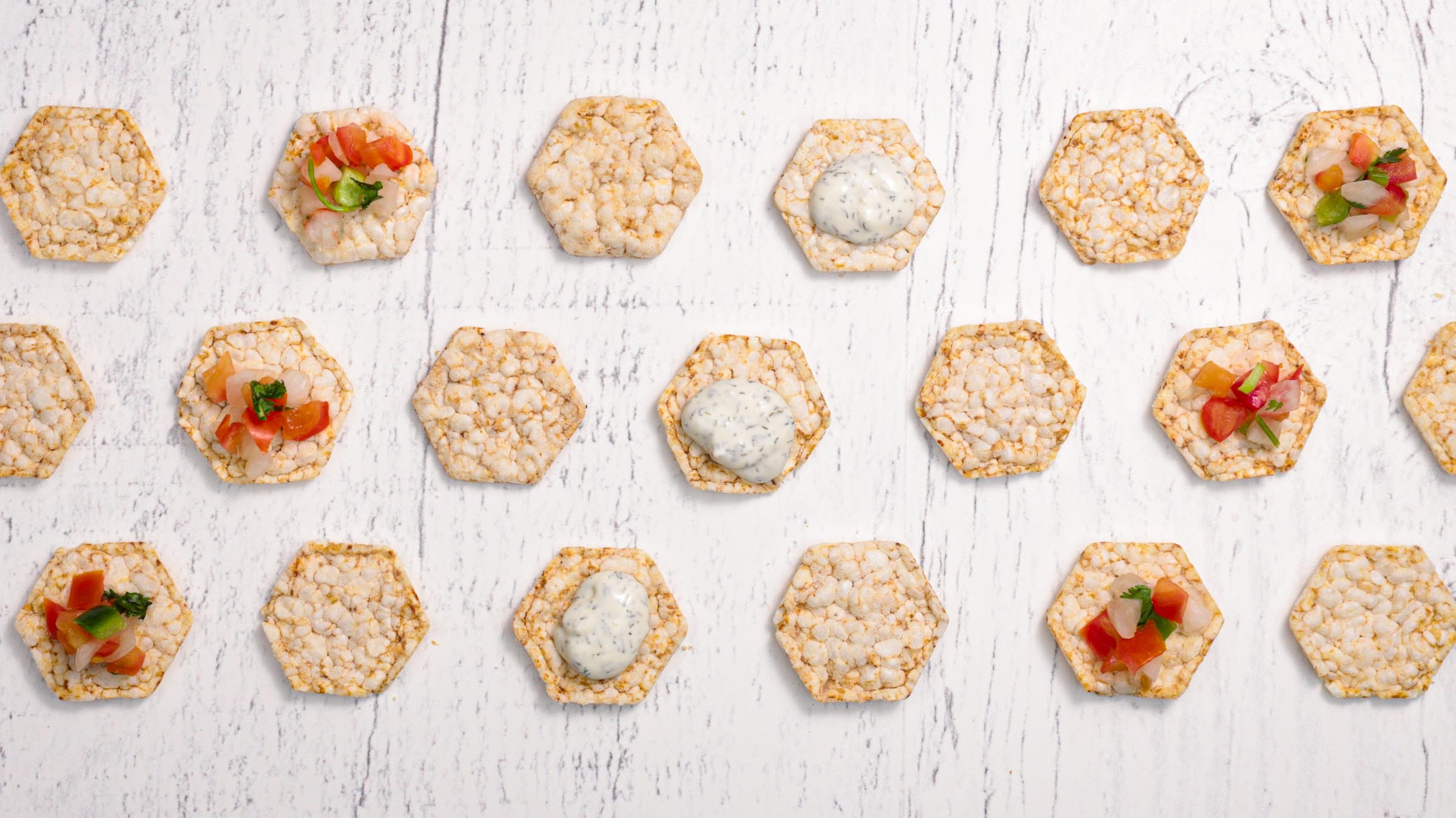 Lundberg Rice Cake Minis with toppings
