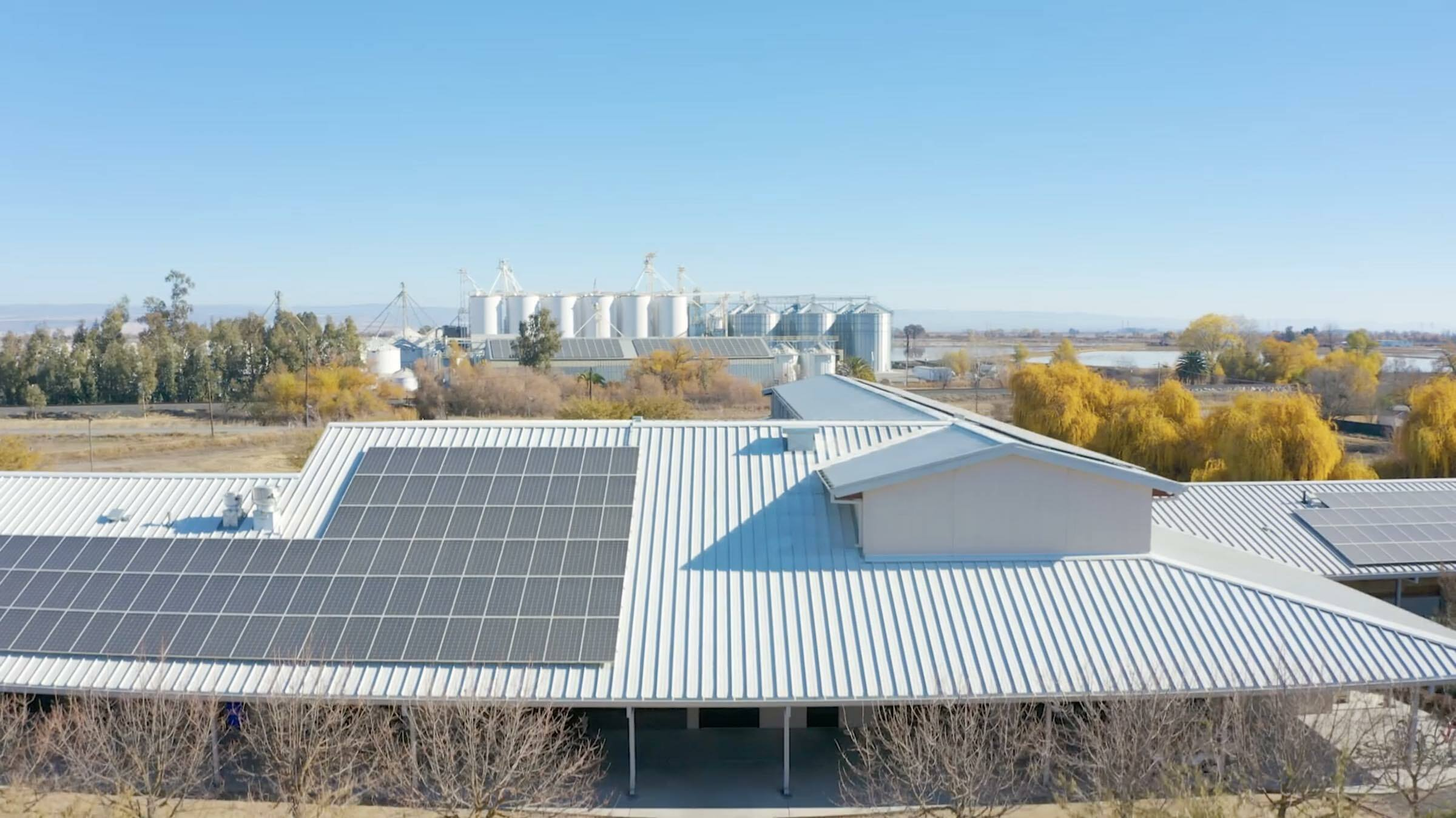 Solar panels atop Lundberg's Administration Building and Drying & Storage Facilities.