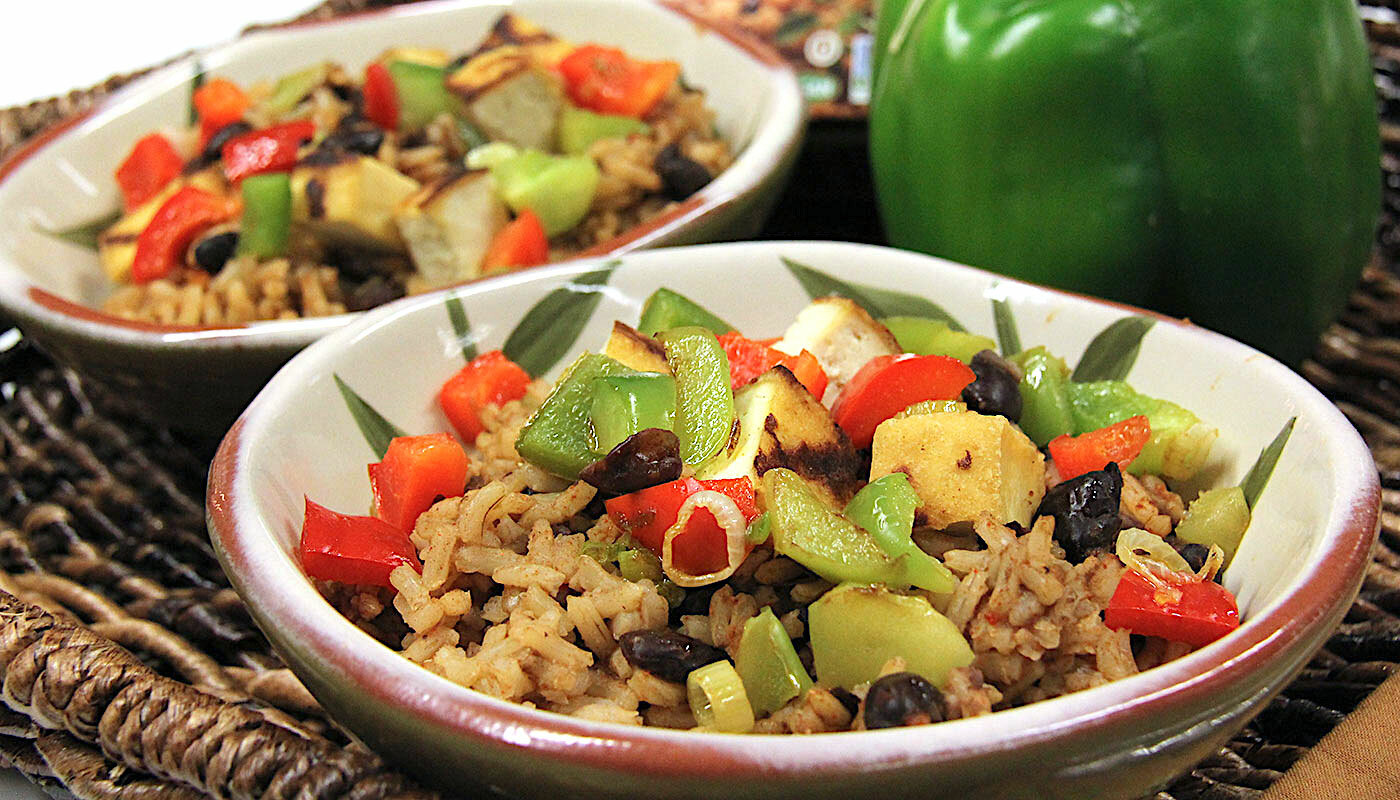 Black Beans and Rice dish in bowl.