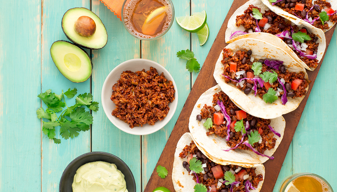 Burgundy Red Rice Meatless Tacos image