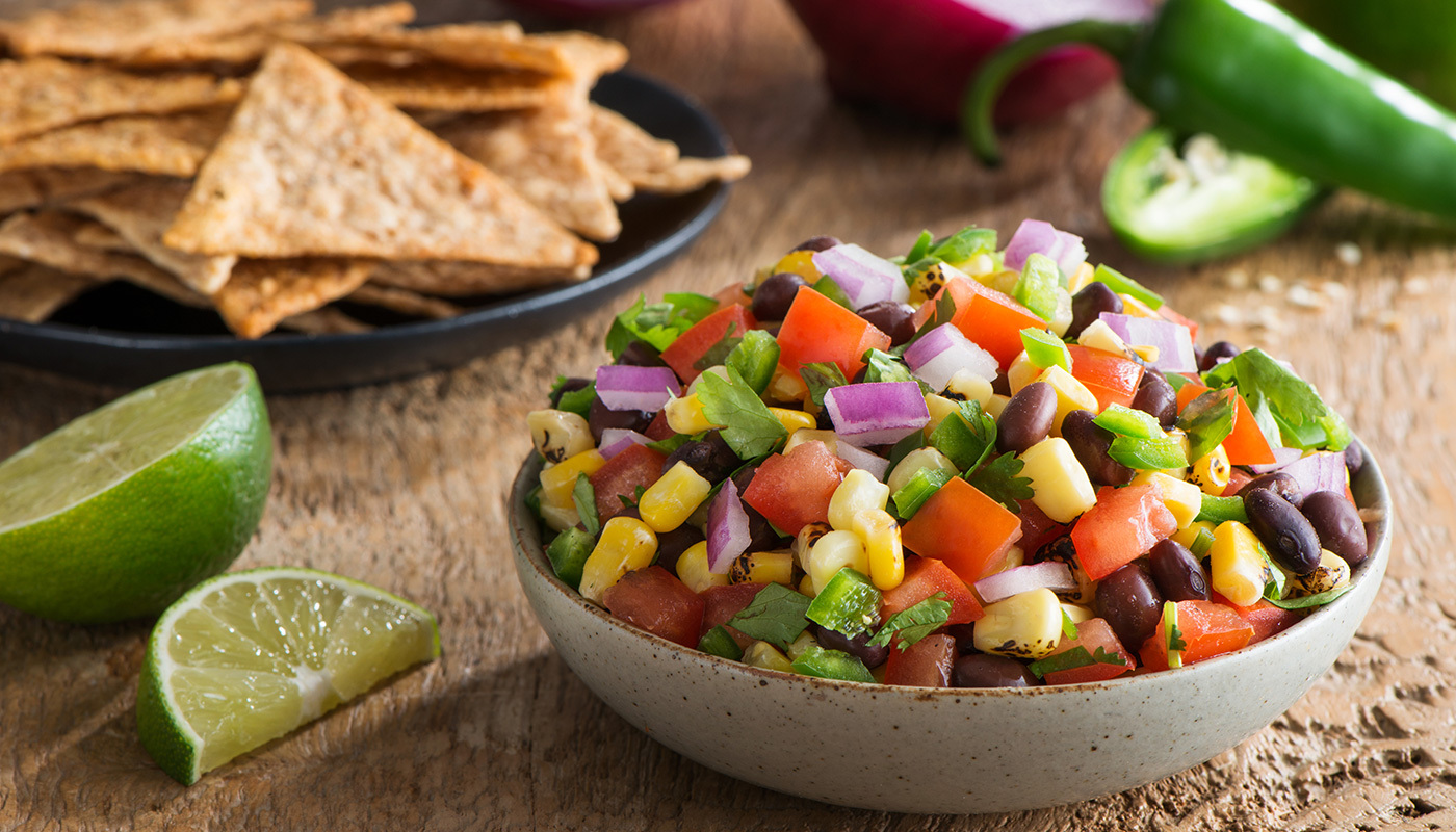 Grilled Corn Salsa with Lundberg Rice Chips