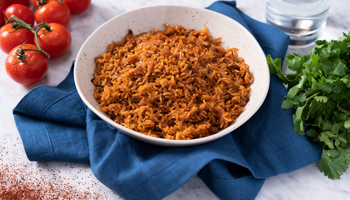 Spanish style rice in a bowl