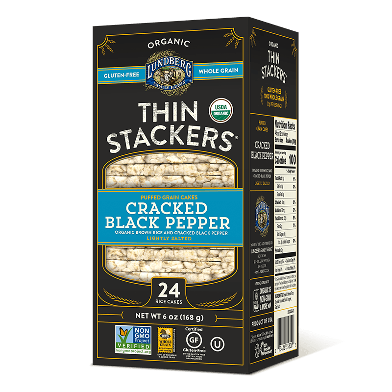 Organic Thin Stackers® - Cracked Black Pepper
