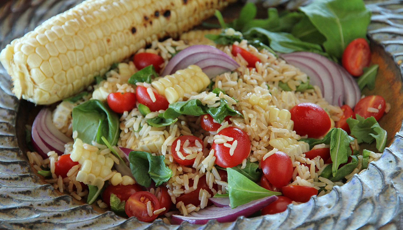 Summer Salad with Corn, Long Grain Brown Rice, Tomatoes & Arugula