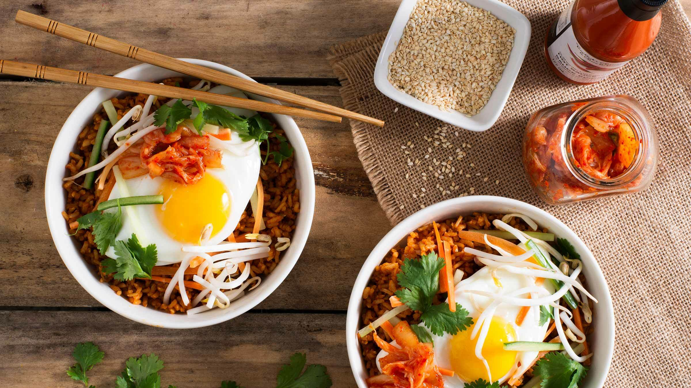 Korean-inspired bibimbap rice bowls