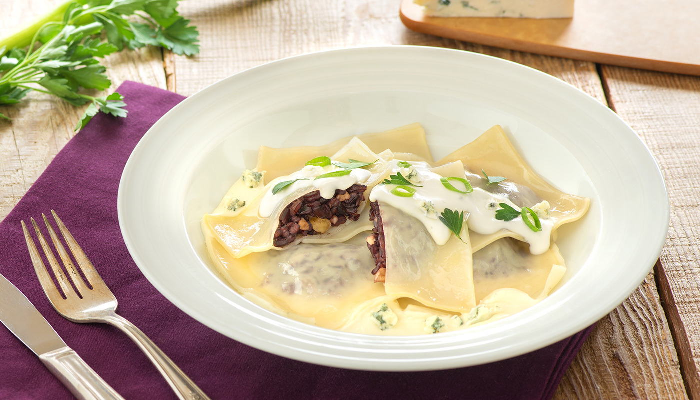 Black Japonica Ravioli with Bleu Cheese Cream