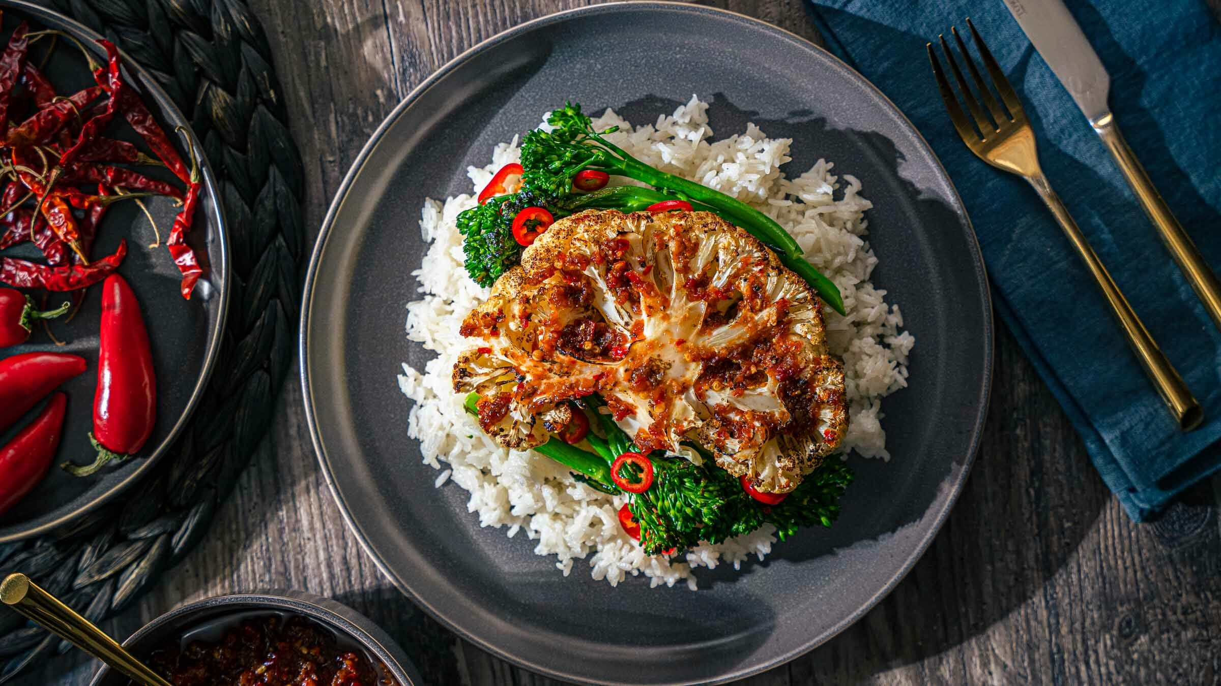 Cauliflower Steaks with Lundberg Jasmine Rice