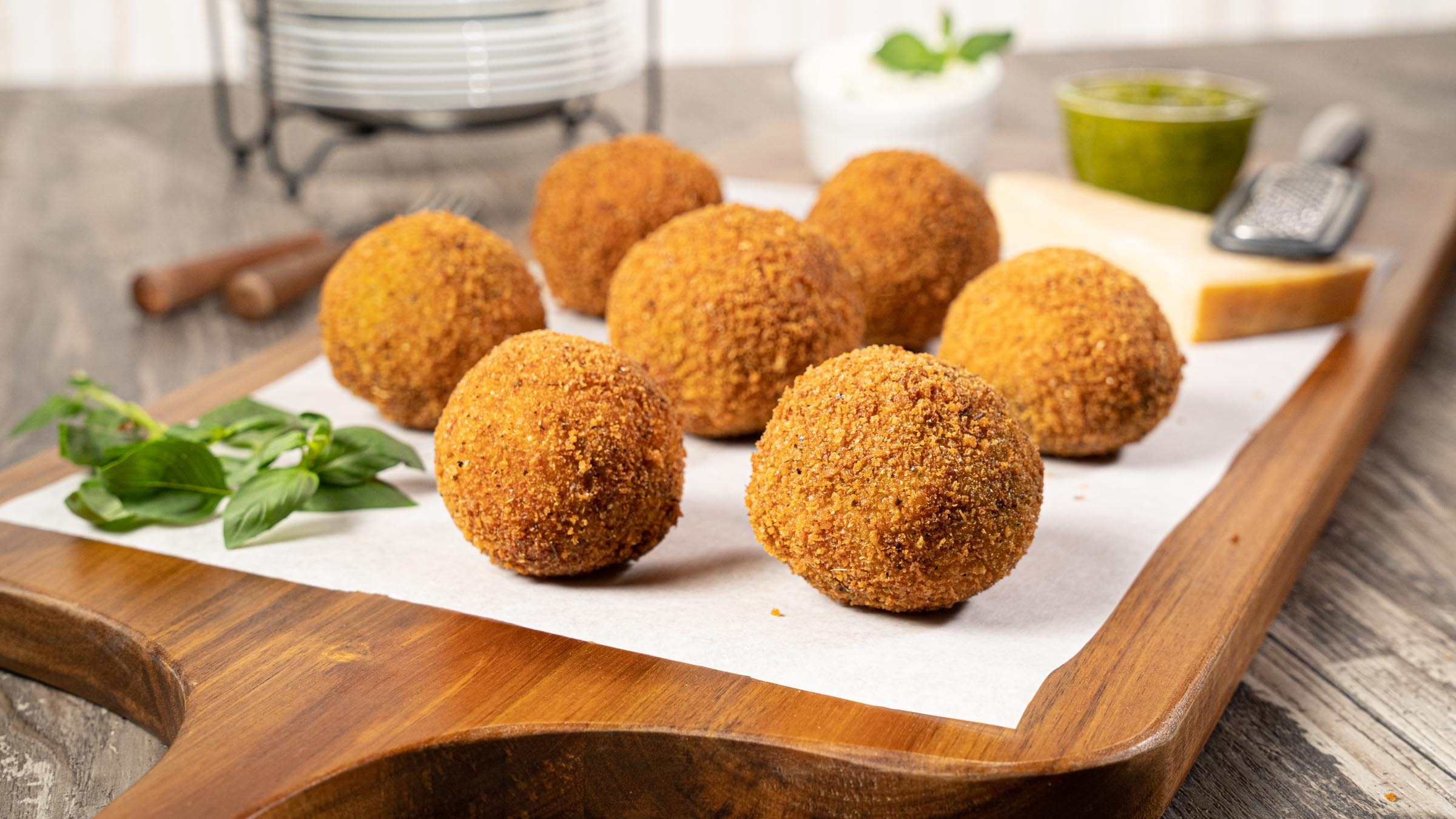 Cheesy Pesto Arancini