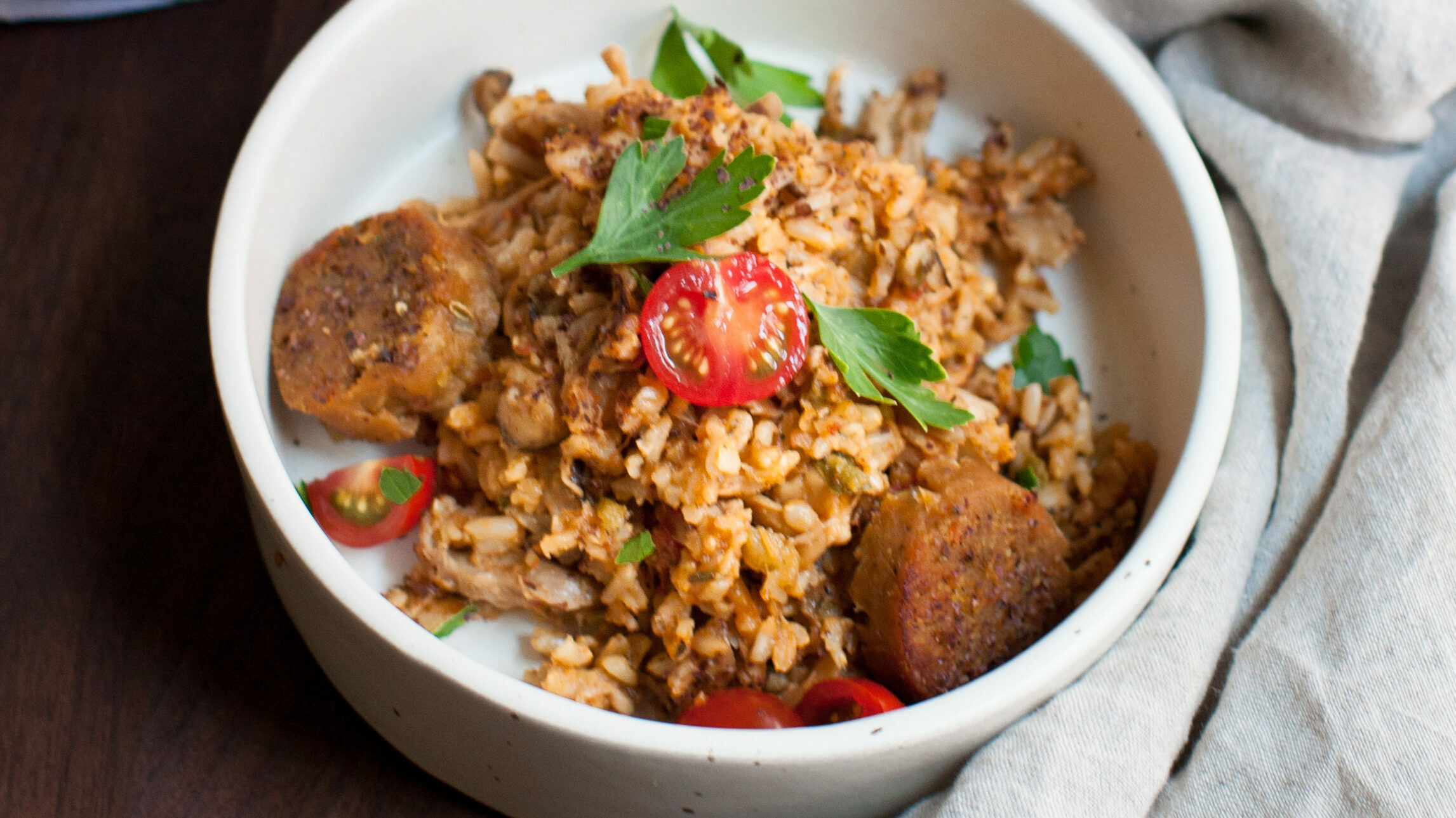 Mushroom and Sausage Jambalaya in bowl