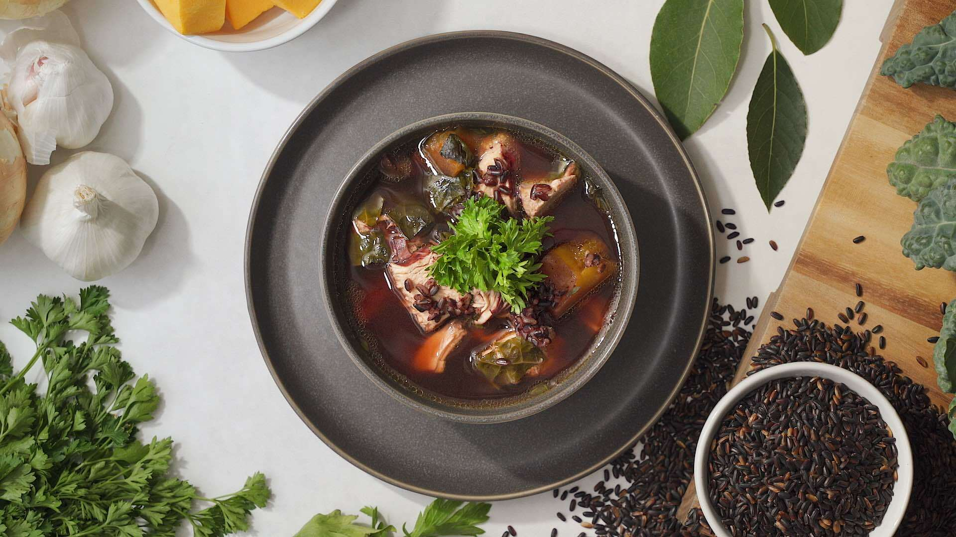 Instant Pot Chicken Rice Soup with Lundberg Black Rice