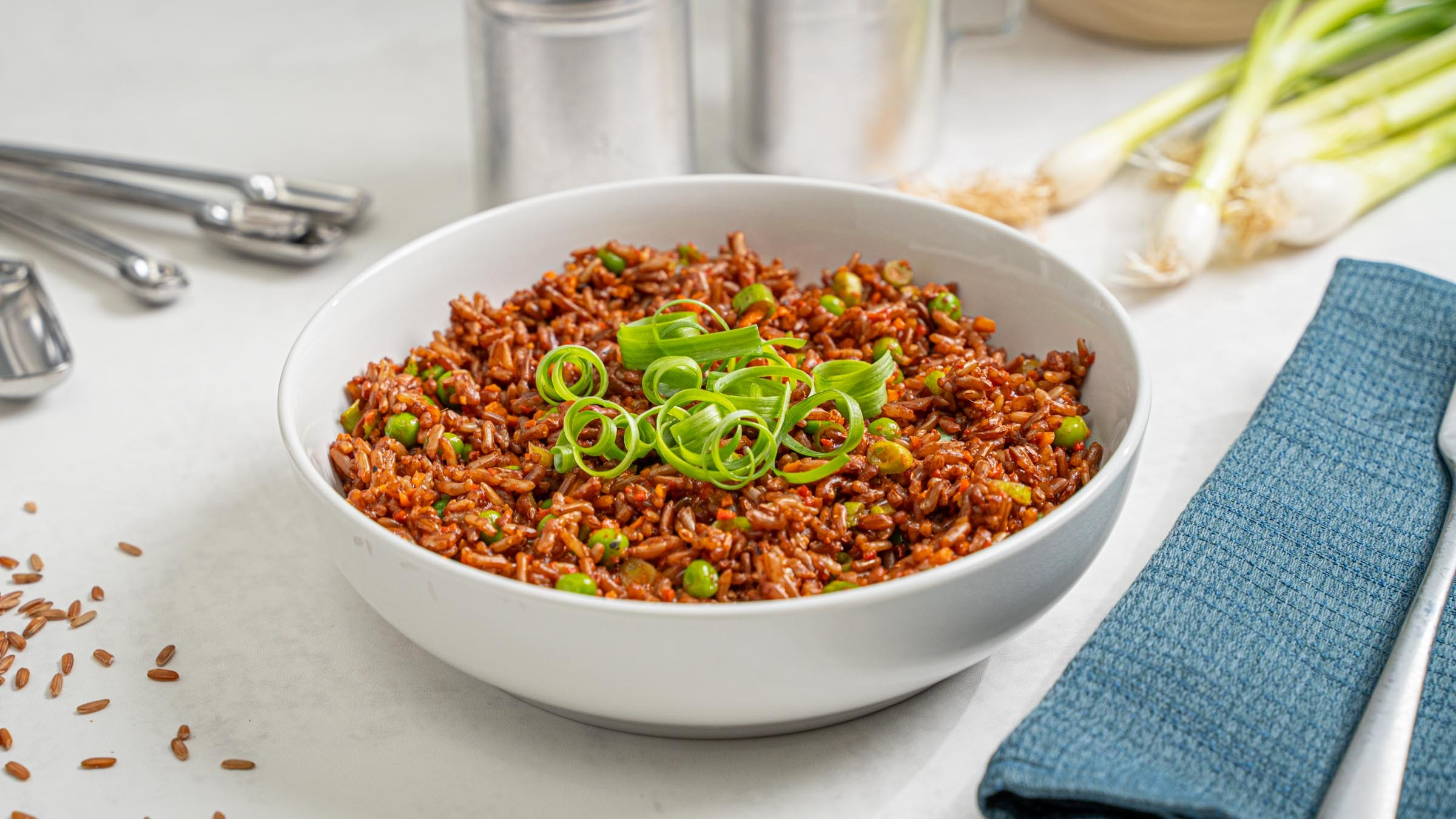 Red Rice Pilaf in white bowl