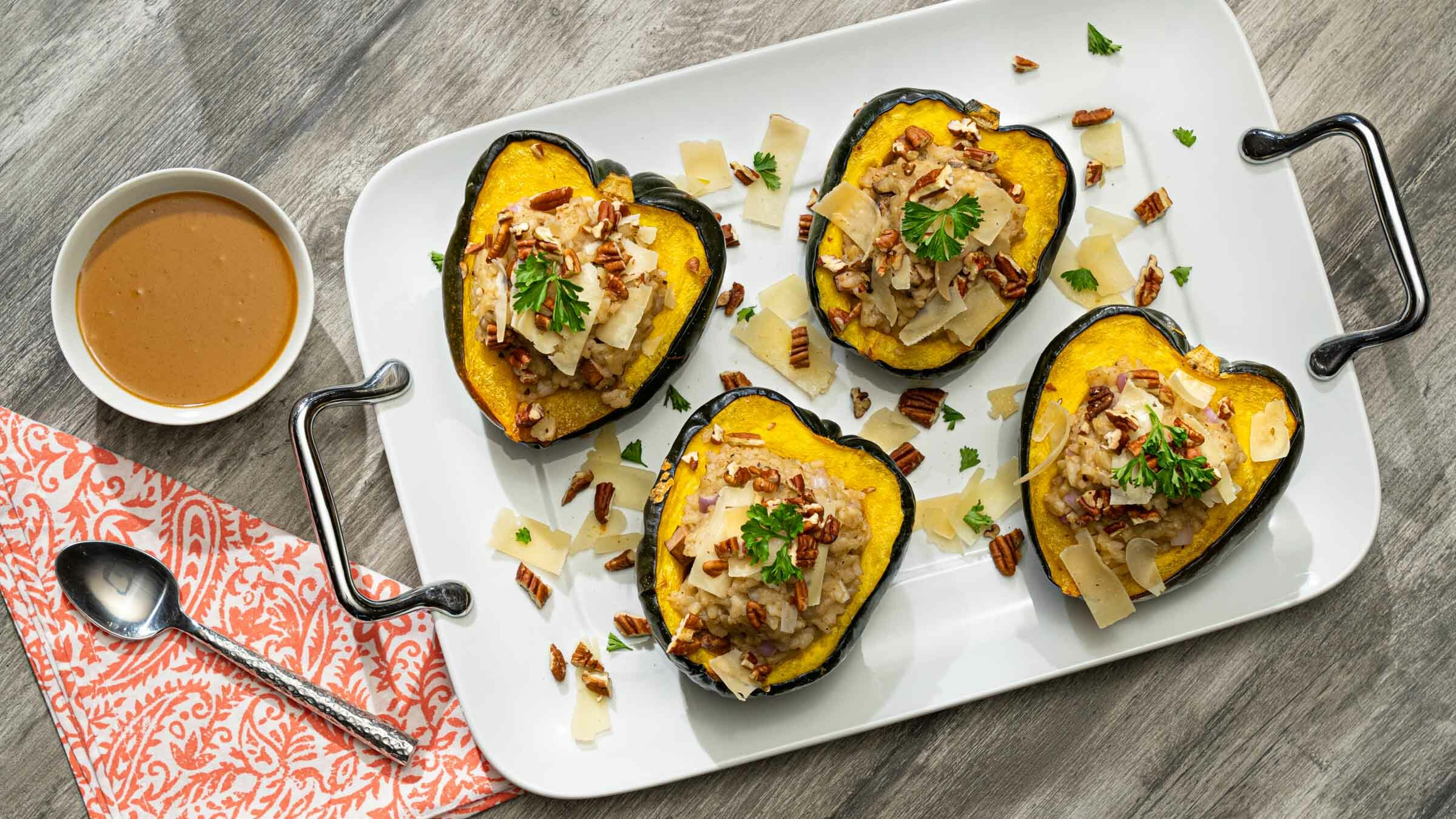 Risotto Stuffed Acorn Squash on tray