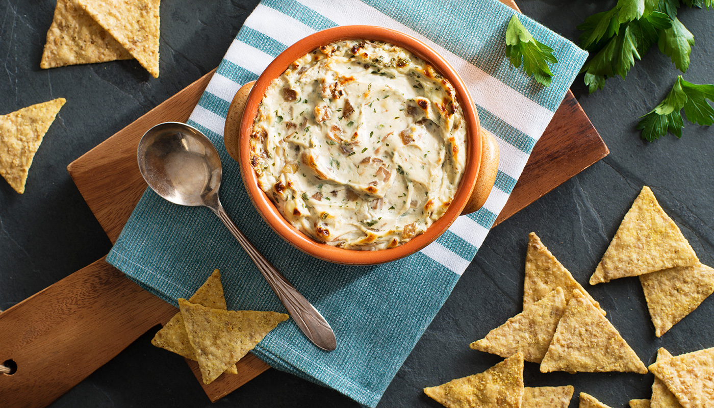 Warm Caramelized Onion Dip with Stilton Cheese