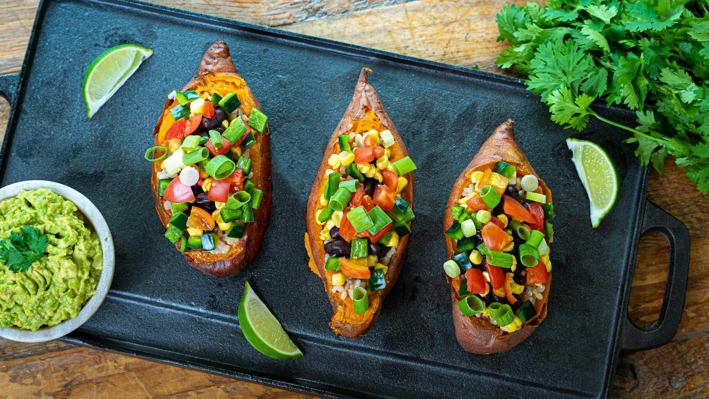 Stuffed sweet potatoes on tray