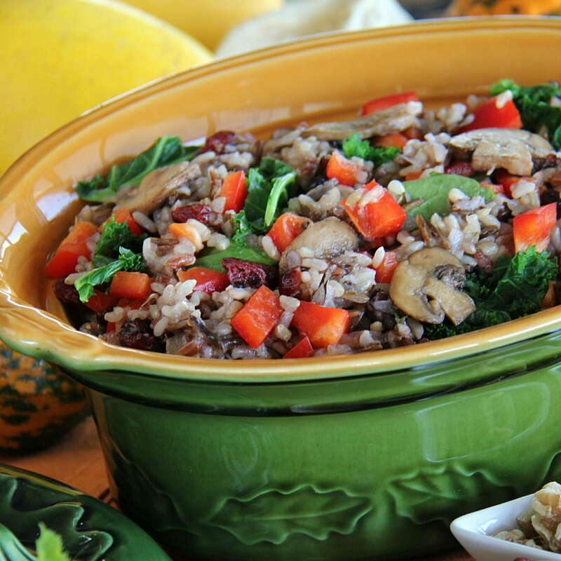 Wild Blend Pilaf with Mushrooms Bell Peppers and Spinach