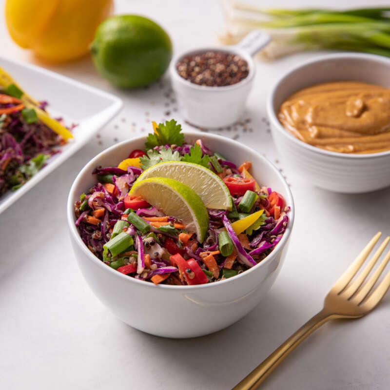Rainbow Slaw with Quinoa in bowl