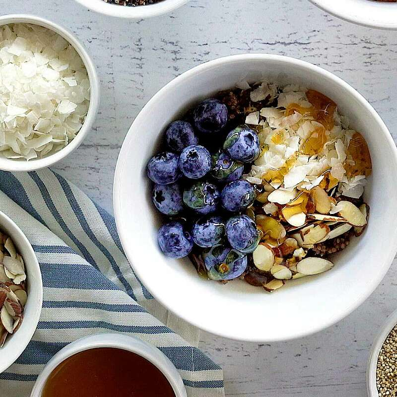 Black Cherry & Blueberry Quinoa Breakfast Bowl
