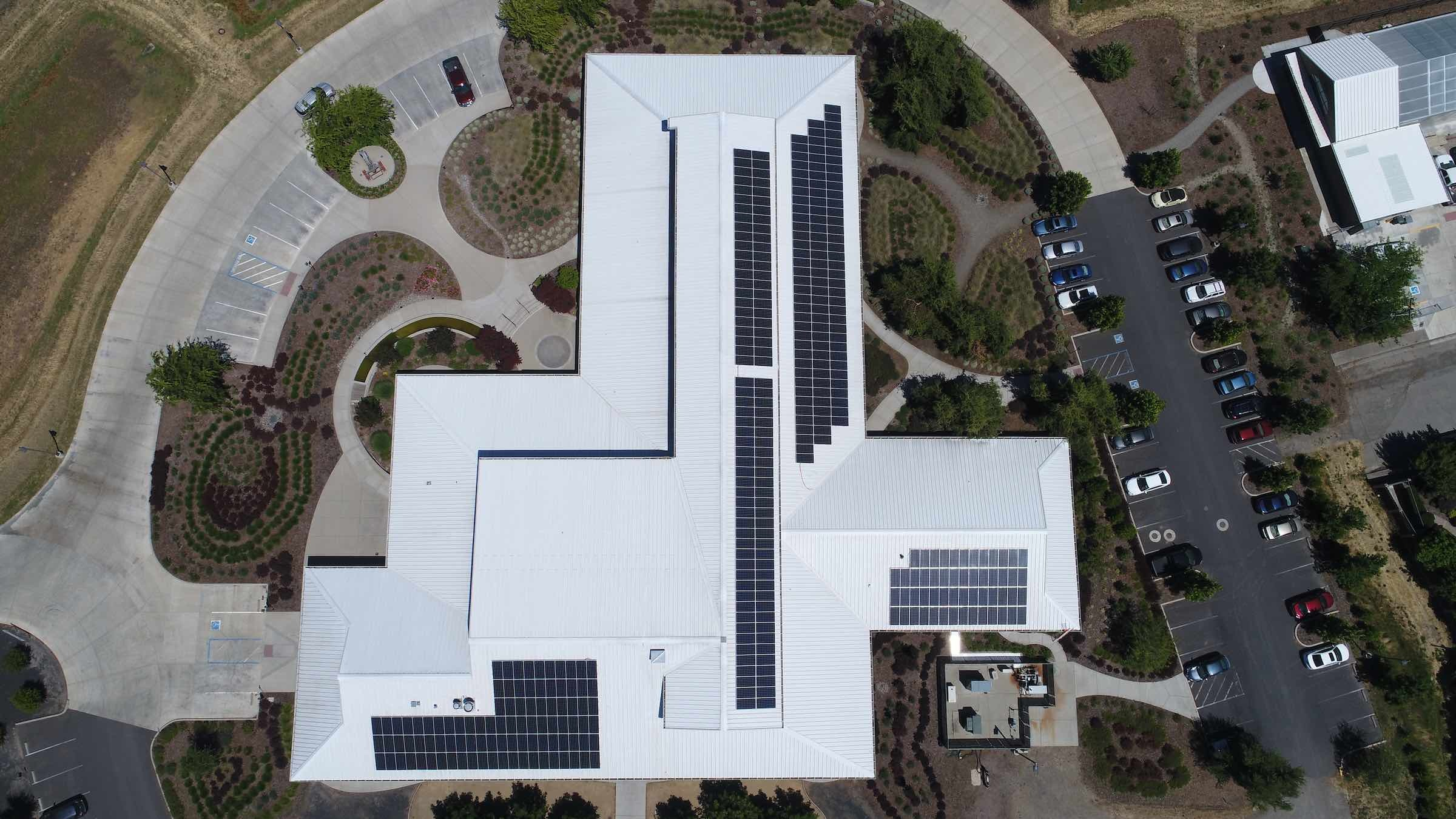 Solar panels are installed atop Lundberg's Administration Building.