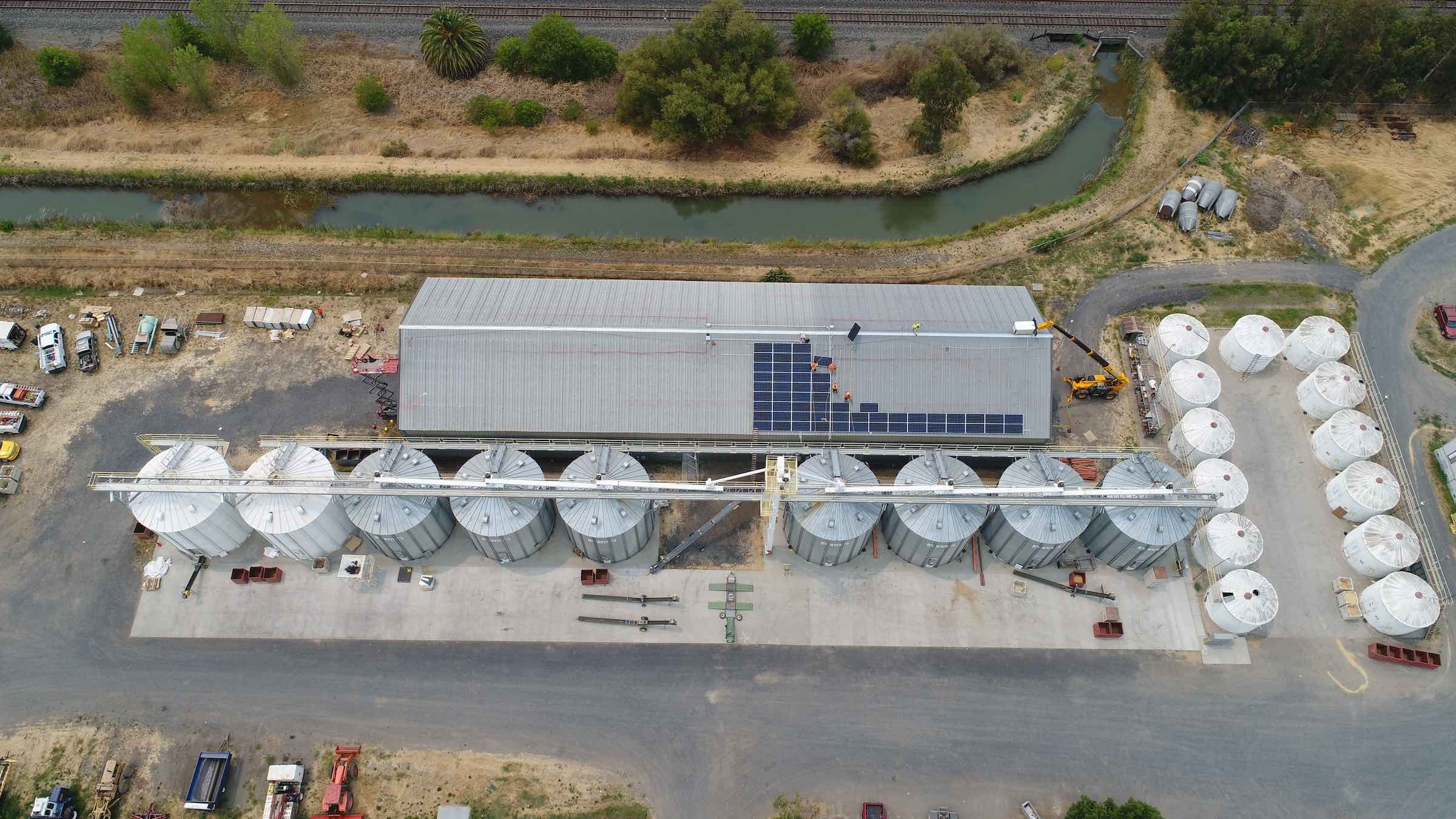 Solar panels are installed atop the Harvest Building at Lundberg's Drying & Storage facilities.
