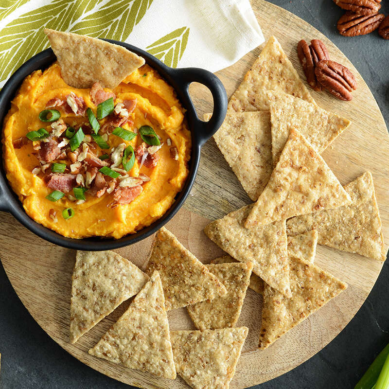 Sweet Potato Dip with Pecans and Bacon