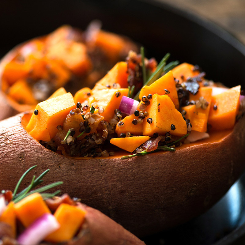 Tri-Color Blend Quinoa and Bacon Stuffed Sweet Potatoes